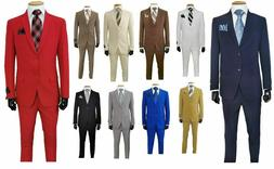 Men's Formal Slim Fit Suit 2 piece two button solid colors