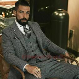 Mens Grey Suits Herringbone Tweed 3 Pieces Formal Wedding Pa