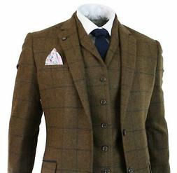 cavani Mens Herringbone Tweed Tan Brown Check 3 Piece Wool S
