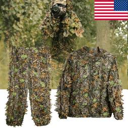 Mens Hunting Ghillie Suit 3D Camo Bionic Leaf Camouflage Jun