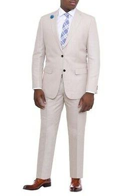 Mens Modern Fit Beige Tan Textured Two Button Linen Cotton B