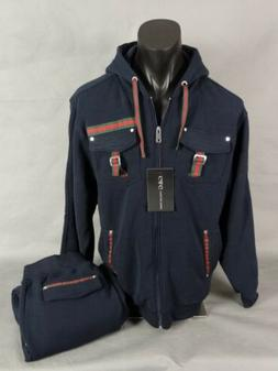 Mens Navy Blue 2PC Track Suit Jogging Set With Red And Green