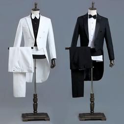 Mens Peak Lapel Tailcoat Suit Trousers Sets Party Dress Wedd