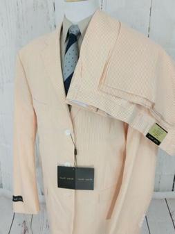 Mens Seersucker Suit 54L Big Tall 48x39 Pleated Uncuffed 3 B