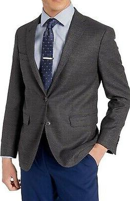 Cole Haan Mens Suit Jacket Gray Brown Size 44 Two-Button Fle