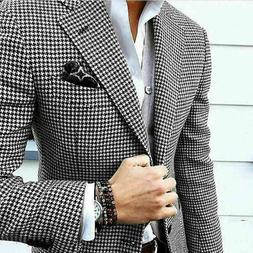 Mens Suits Slim Fit Houndstooth Jacket Coats Groom Wedding F