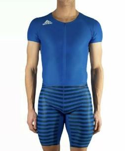 Adidas Mens Track Suit SIZE S Blue Adizero Short Sleeve Spri