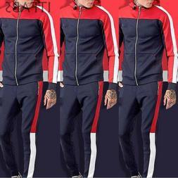 Mens Tracksuit Jogging Top Bottom Sport Sweat Suit Hoodie Co