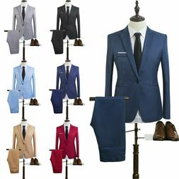 Mens Tuxedos Dress Suits Blazer Jackets + Pants Slim Fit Bus