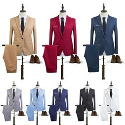 Men Tuxedos Jacket Pants Set Slim Fit Business Formal Groom