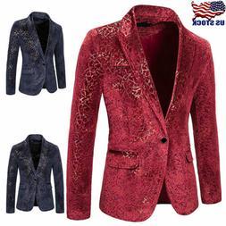 Mens Velvet Blazer Suit Slim Fit Coat Jacket Formal Gentlema