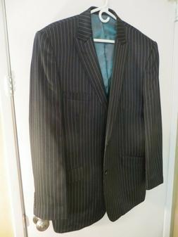 MIDTOWN MAN Blazer Sport Coat Suit Jacket BLACK/WHITE Pinstr