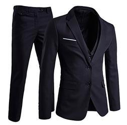 Men's Modern Fit 3-Piece Suit Blazer Jacket Tux Vest and Tro