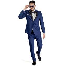 Navy Blue Slim Fit Suit Tuxedo 2 Button Satin Collar Flat Fr