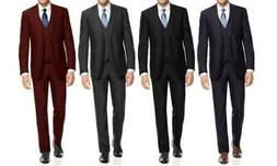 NEW Braveman Big And Tall Men's Slim 3PC Suits - Navy - Size
