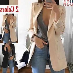 New Casual Slim Solid Suit Blazer Coat Jacket Outwear Womens