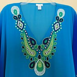 NEW Chicos Sheer Ombre Blue Green Peri Beaded Poncho Cover U