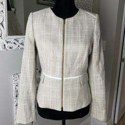 NEW Calvin Klein Cream Suit Zipper Blazer Jacket 10P