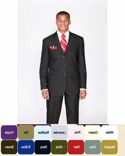 New Men's Basic Suit Single Breasted 3 Button 14 Unique Colo