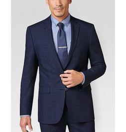 NEW Calvin Klein Men's Slim-Fit Navy Plaid Suit Jacket Two-B