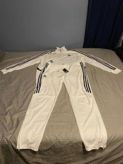 New Adidas Men's Tiro Track Suit Set 3 Stripe White/Black Cl