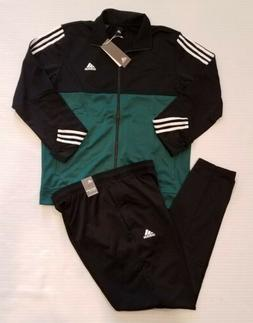 NEW!! ADIDAS MENS 3-STRIPES TRACK SUIT BLACK/GREEN/WHITE  SI