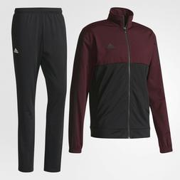 New Adidas mens BQ8357 3 stripes track suit black maroon jac