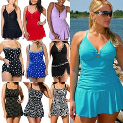New Plus Size Women Swimwear Padded Push Up Tankini Swimsuit
