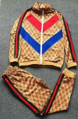 NEW Red+Blue V Brown Tracksuit Blazers Suits Men Outfits Ath