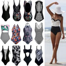 New Women One Piece Bathing Monokini Push Up Padded Bikini S