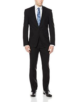 Kenneth Cole New York Men's Black Solid Slim Fit 2 Button Si