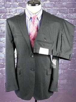 NWT CALVIN KLEIN Black Pinstipe Executive Power Suit - 44 L