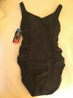 "NWT Speedo Black ""Shirred Princess"" one piece bathing su"