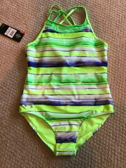 NWT Girls Under Armour One Piece Swimsuit Bathing Suit Neon