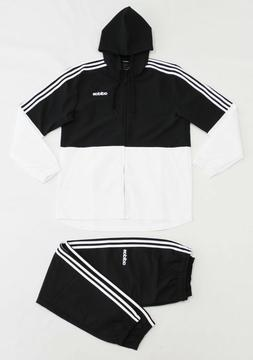 NWT ADIDAS Men's Black White Windbreaker Track Suit Hoodie J