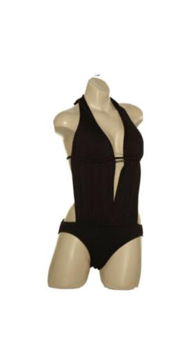 NWT Kenneth Cole One Piece Sz S Black Swimsuit Halter Solid