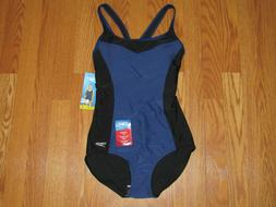NWT Womens SPEEDO Blue Harmony Black One Piece Swim Suit Lig