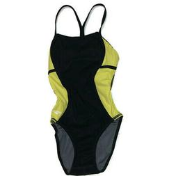 Speedo One Piece Swim Suit Sz 28 Black Yellow Swimwear Bathi