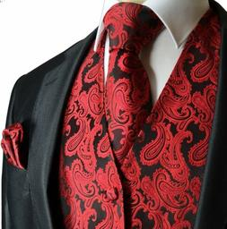 Paisley Men's Tuxedo Suit Vest with Necktie and Pocket Squar