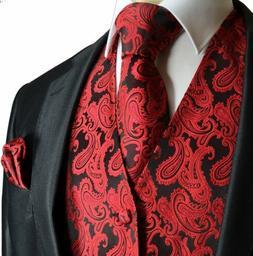 Paisley Men's Tuxedo Suit Vest with Necktie and Pocket Squar