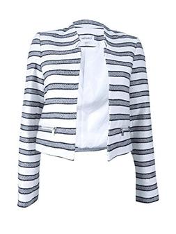 Calvin Klein Women's Petite Size Boucle Stripe Open Jacket,