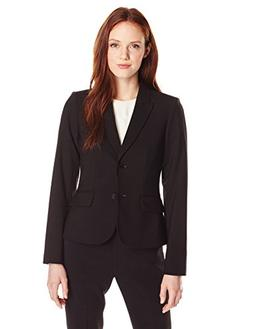 Calvin Klein Women's Petite Two Button Lux Blazer, Black, 2