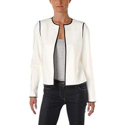 Calvin Klein Womens Petites Faux Leather Contrast Trim Jacke