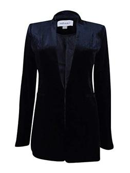 Calvin Klein Womens Petites Velvet Evening One-Button Blazer