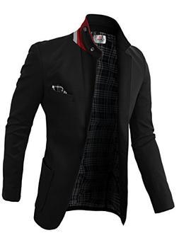 H2H Men's Plaid Sport Coat Black US 3XL/Asia 5XL