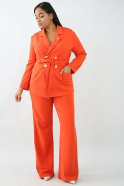 Plus Size Orange or White Belt Tie Button Blazer Jacket Bell