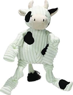 HuggleHounds Plush Corduroy Durable Knottie Cow, Dog Toy, La