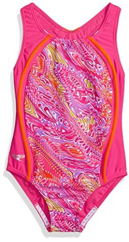 Speedo Girls Printed Sport Splice, Electric Pink, Size 8
