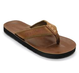 HUMMOO Men's PU Leather Flip Flops - Slip on Casual Thong Sa