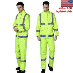 double layer Reflective Rain Jacket SET Suits Working Safety